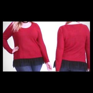 Torrid knit red  sweater with black mesh underlay